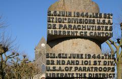 war memorial in Sainte mere Eglise in Normandie - stock photo