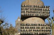 Stock Photo of war memorial in Sainte mere Eglise in Normandie