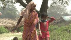 Indian brickfield & brickfield workers Stock Footage