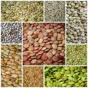 lentils healthy food collage - stock photo