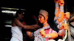 Making Idols of Durga Stock Footage