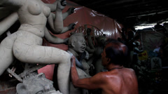 Clay Idol of Durga Stock Footage