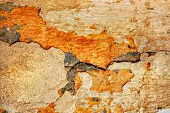 texture of the old stucco wall with cracks - stock photo