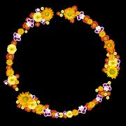 Decorative environment and recycling symbol from color flowers Stock Photos