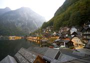 Stock Photo of dusk at hallstatt on the hallstatter see lake in austria