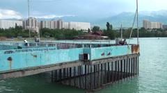 Pier on Almaty lake Stock Footage