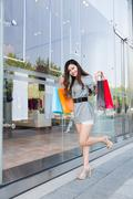 Young woman shopping in mall Stock Photos