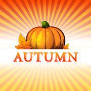 Syksyllä piirrosten kurpitsa ja syksyn lehdet ja säteet Piirros