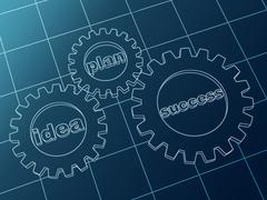 idea, plan, success in blue gear-wheels - stock illustration