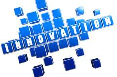 blue innovation in blocks - stock illustration