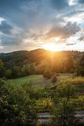 beautiful magic sunset scene - stock photo