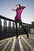 fashion photo of girl on the street - stock photo