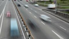 Panoramic timelapse passing city traffic cars bridge, daytime, click for HD Stock Footage