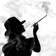 Silhouette of smoking woman isolated on a white background Stock Photos