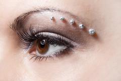 make-up on woman eye - stock photo