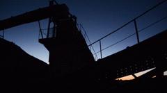 Abandon Factory Equipment at Night - stock footage