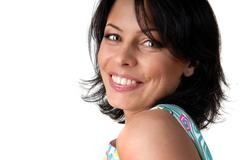 Stock Photo of portrait of happy smiling woman on white