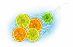 Citrus fruits on a white background Stock Illustration