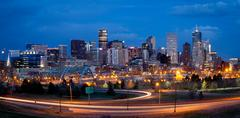 Denver Skyline at Night Stock Photos