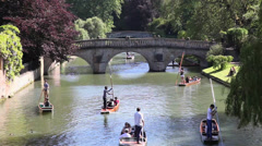 Punting on the river Cam Cambridge, England, UK Stock Footage