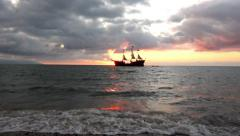 Sailing into the sunset - stock footage