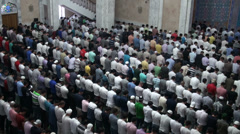Kazakhstan, Friday prayer in Almaty mosque, Islam, muslims, crowd Stock Footage