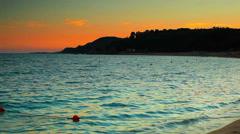 Waves on sea coast panorama. Stock Footage
