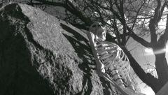 Skeleton HIllside Black and White 2 Stock Footage