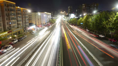 Timelapse urban traffic at night. Stock Footage