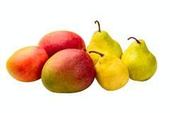 Mangoes and pears Stock Photos