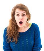 Surprised portrait of woman Stock Photos