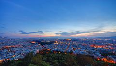 Athens after sunset Stock Photos