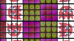 Rubik´s cubes background smiling packman ghost Stock Footage