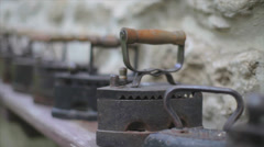 collection of antique irons - stock footage