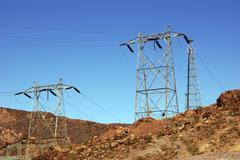 Korkea sähkölinjojen Hooverin pato Kuvituskuvat