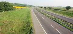 highway driving in good sunny weather - stock photo