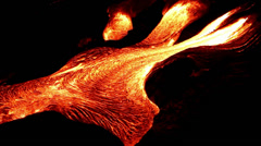 Lava flow at night - stock footage