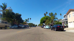 View From Bicycle Riding On Seal Beach CA Residential Street 1 Stock Footage