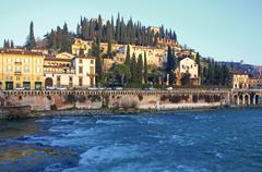 Castel san pietro and Adige river in Verona - stock photo