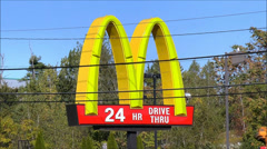 Highway McDonalds sign Stock Footage