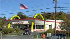 McDonalds restaurant highway location Stock Footage