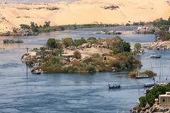 Life on the river nile in egypt Stock Photos