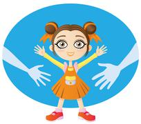 Little girl looking for the love of their parents Stock Illustration