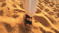 Walking on sand. Stock Footage