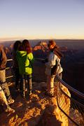 tourists enjoy the sunset from imperial point - stock photo
