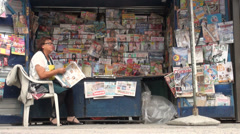 Newspaper stand in Almaty, Kazakhstan Stock Footage
