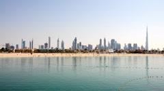 Skyline of Dubai with Jumeirah Beach Stock Footage