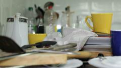 Messy kitchen Stock Footage