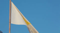 Cyprus national flag waving on flagpole on blue sky background Stock Footage