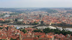 Charles bridge (view from the petrin lookout tower) Stock Footage